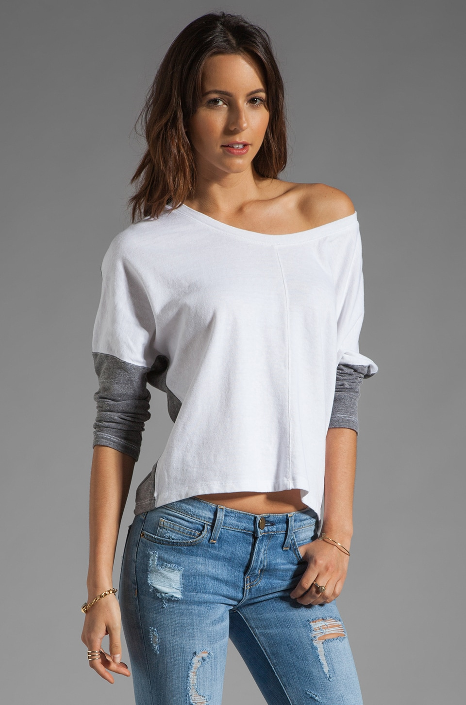 MONROW Two Tone Sweatshirt in White