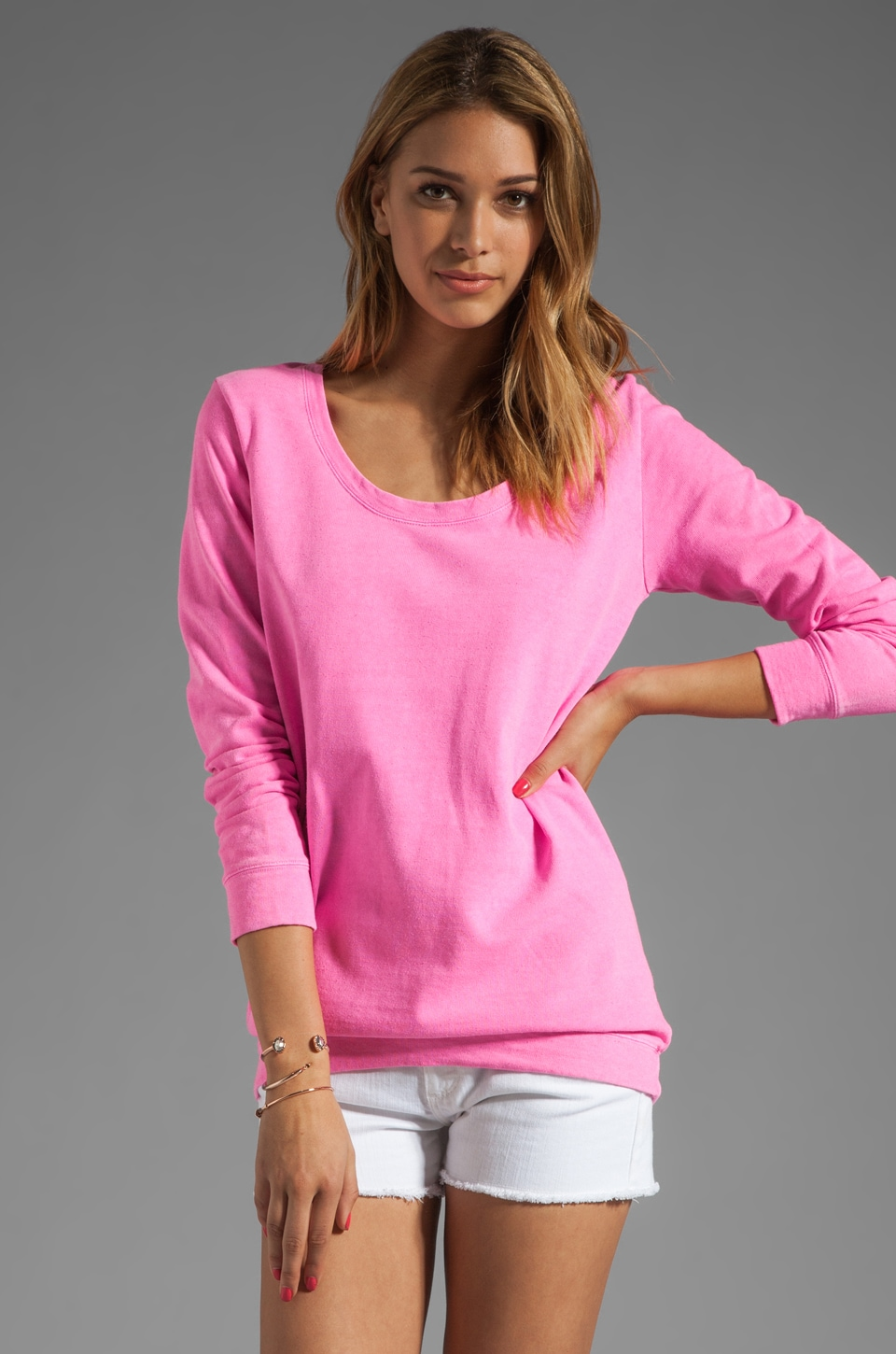MONROW White Fleece Boyfriend Sweatshirt in Neon Pink
