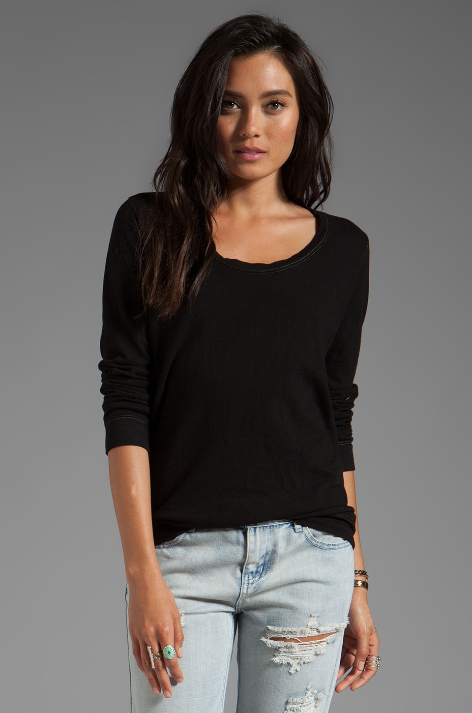 MONROW Boyfriend Fleece Sweatshirt in Black