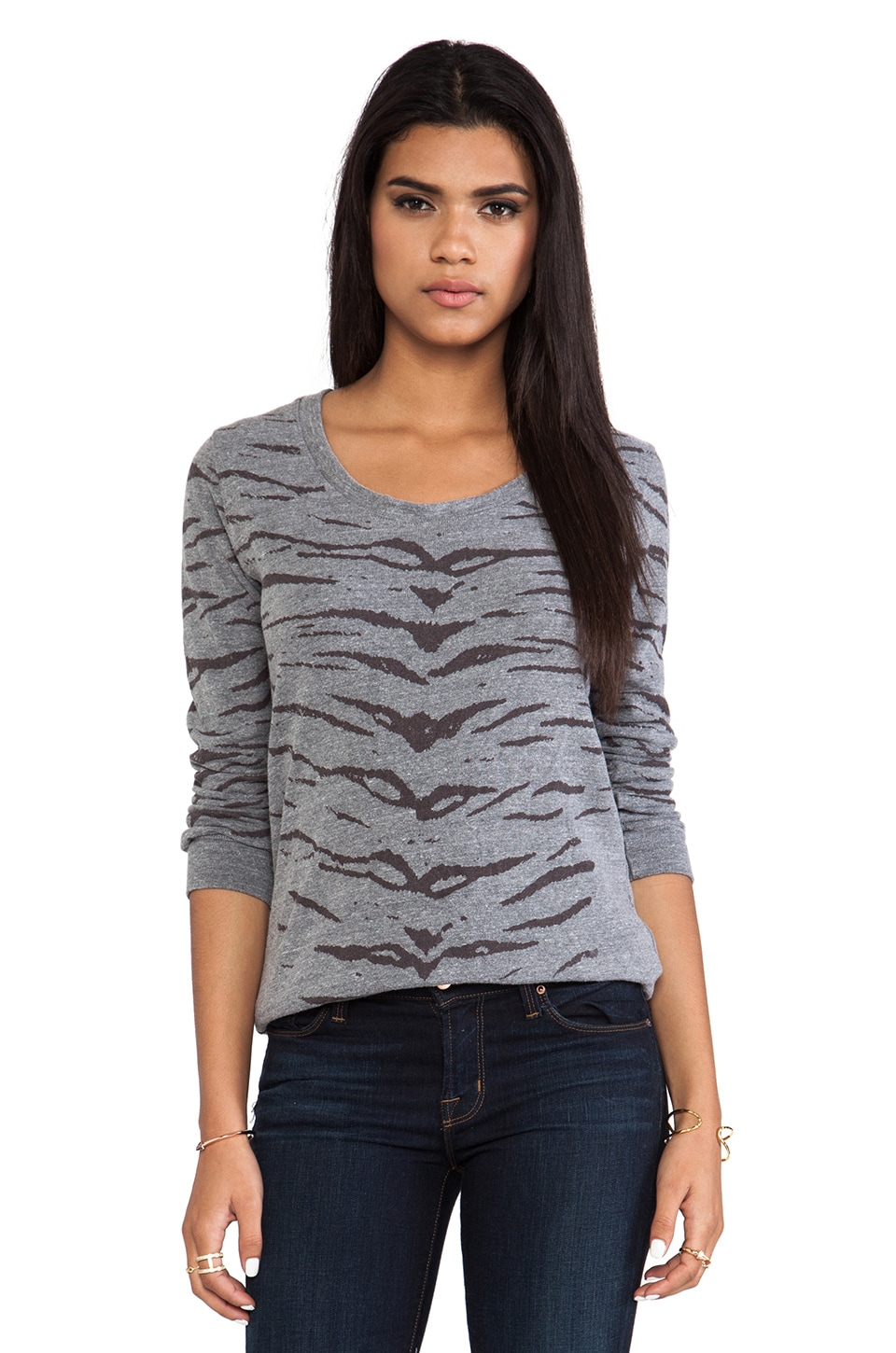 MONROW Tiger Print Boyfriend Sweatshirt in Dark Heather