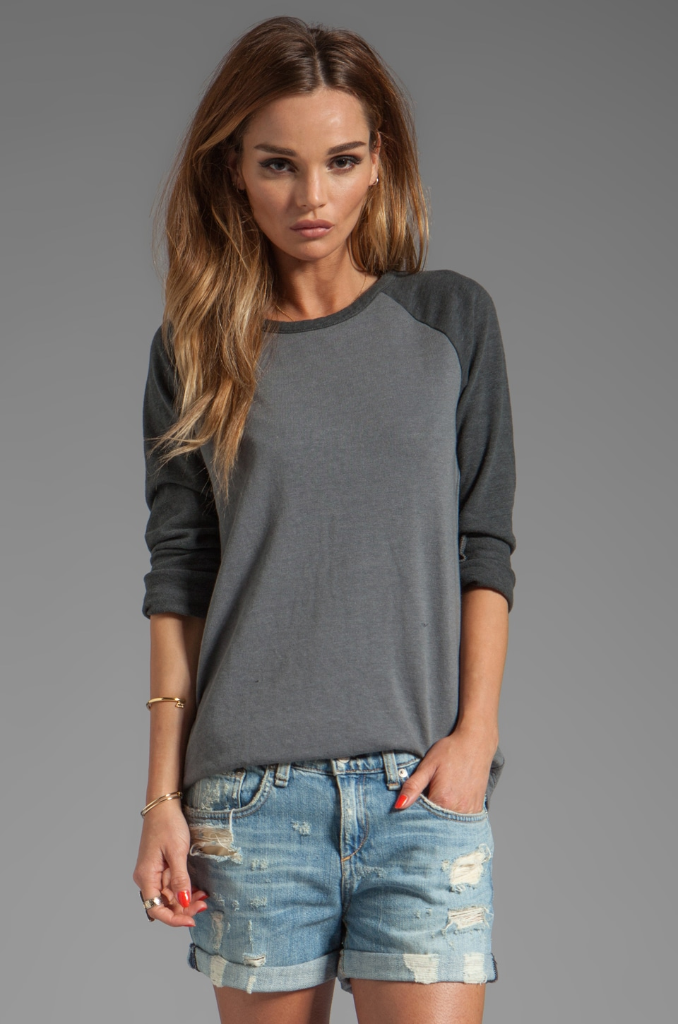 MONROW Rock Fleece Sweatshirt in Smoke