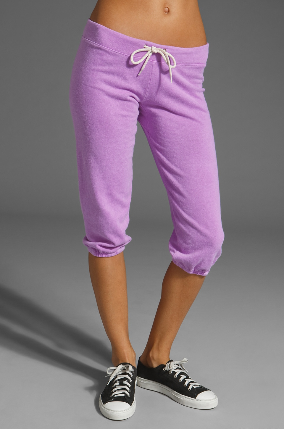 MONROW 3/4 Vintage Sweats in Neon Violet
