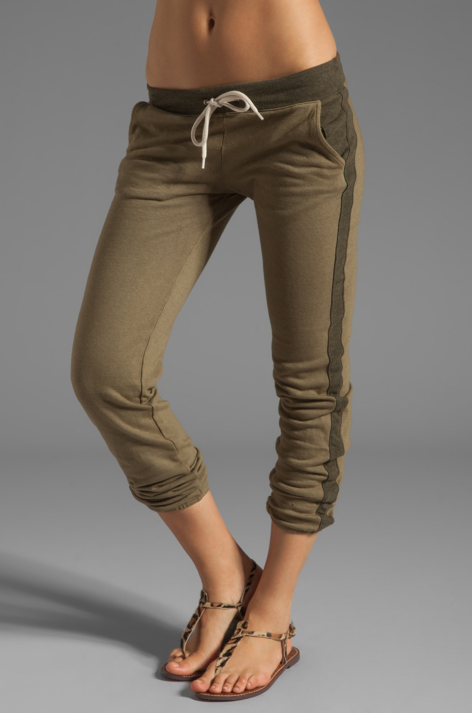 MONROW Fleece Track Sweats in Army