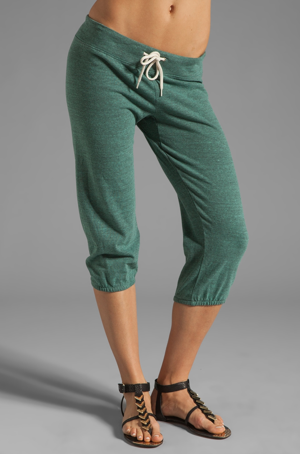 MONROW Heather Fleece 3/4 Vintage Sweats in Mint