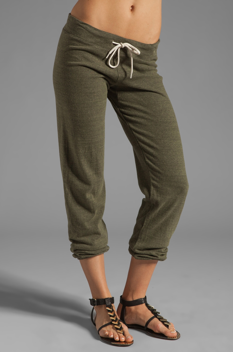 MONROW Heather Fleece Vintage Sweats in Army