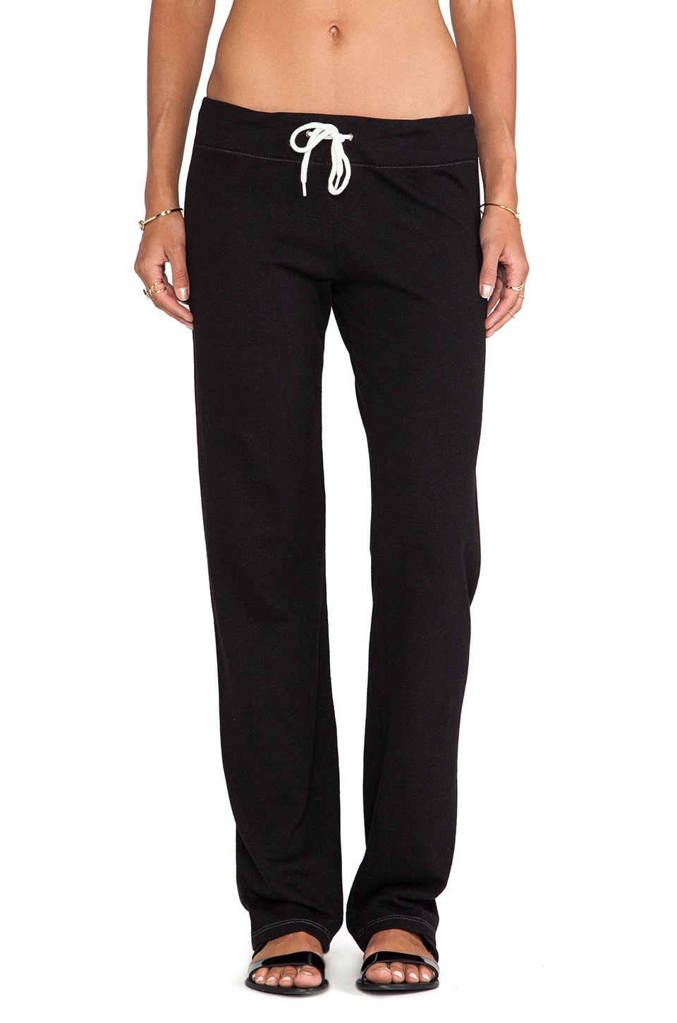 MONROW Heather Fleece Straight Leg Sweats in Black