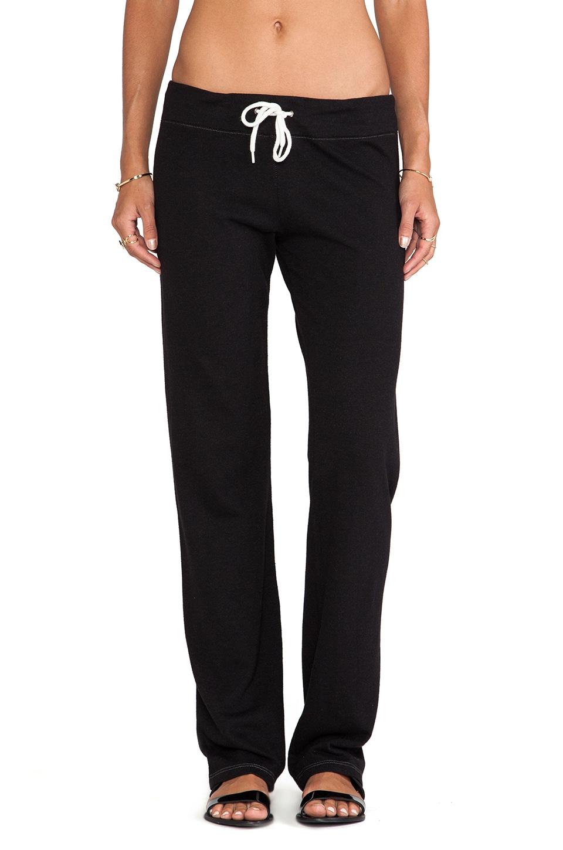MONROW Heather Fleece Straight Leg Sweats in Black