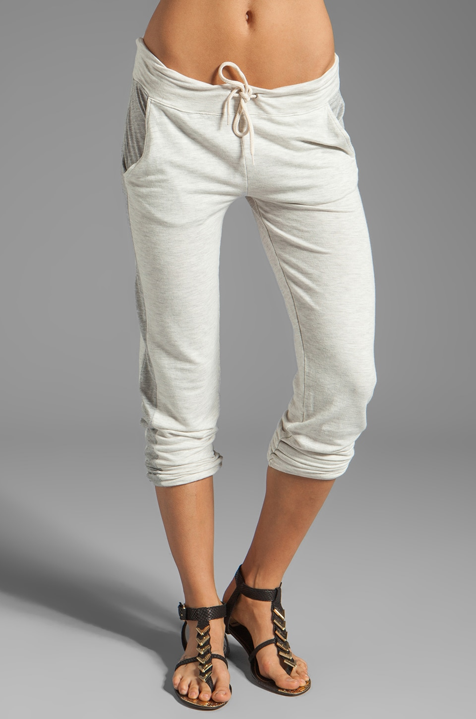 MONROW Contrast Super Soft Track Sweats in Ash