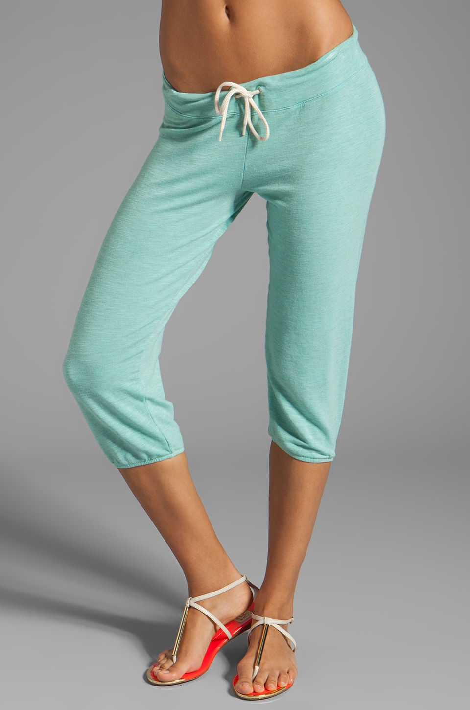 MONROW French Terry Super Soft 3/4 Vintage Sweats in Spearmint