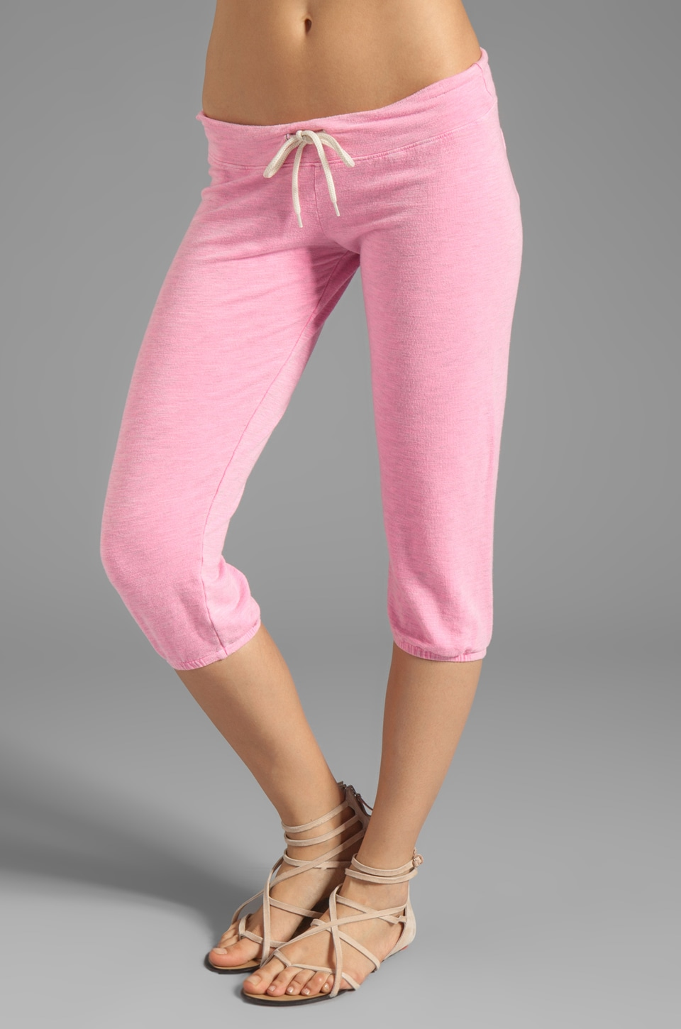 MONROW French Terry 3/4 Vintage Sweats in Neon Pink