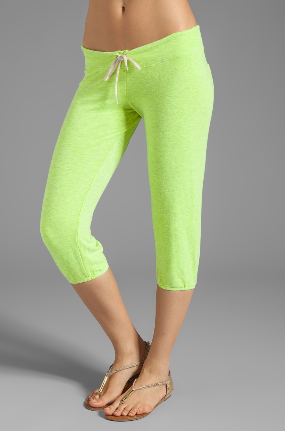 MONROW French Terry 3/4 Vintage Sweats in Neon Citron