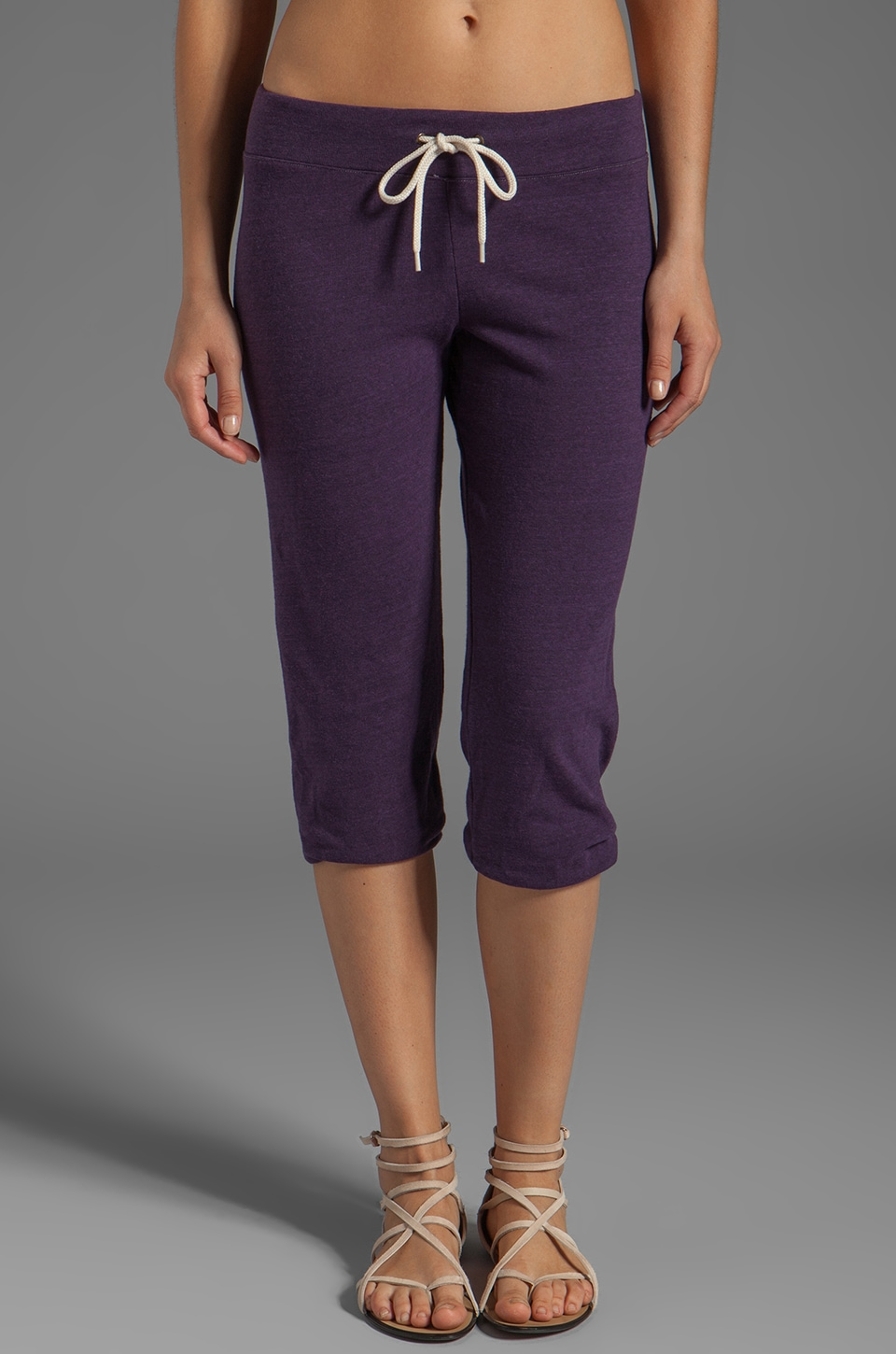 MONROW 3/4 Vintage Fleece Sweats in Plum