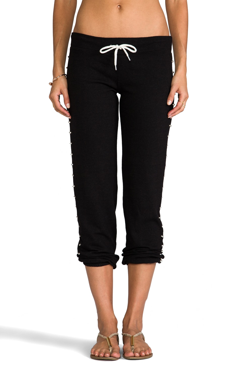 MONROW Border Studded Sweats in Black