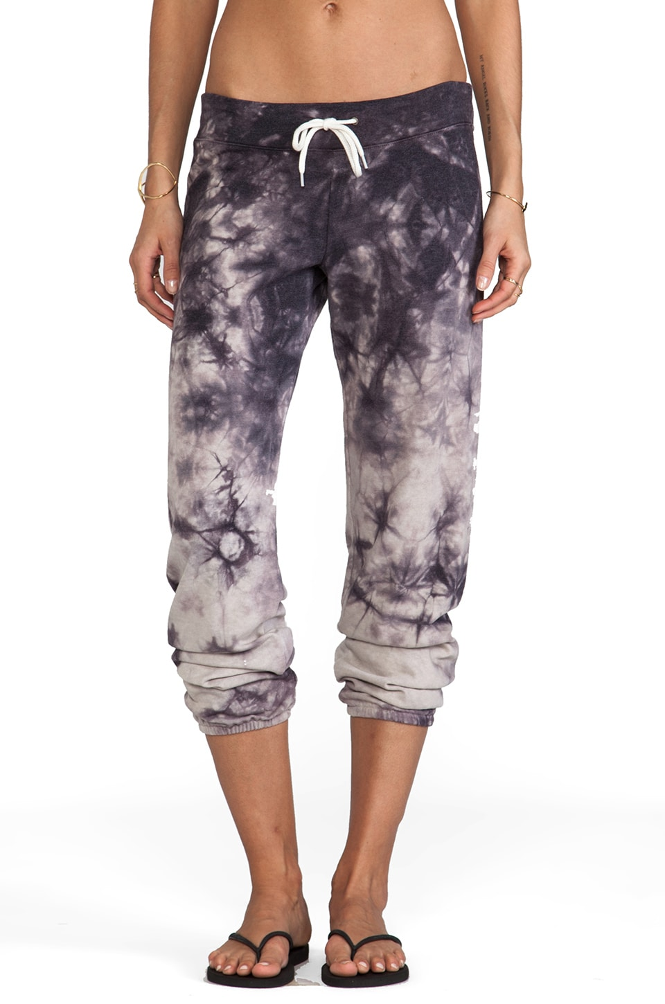 MONROW Sun Faded Tie Dye Sweats in Dust