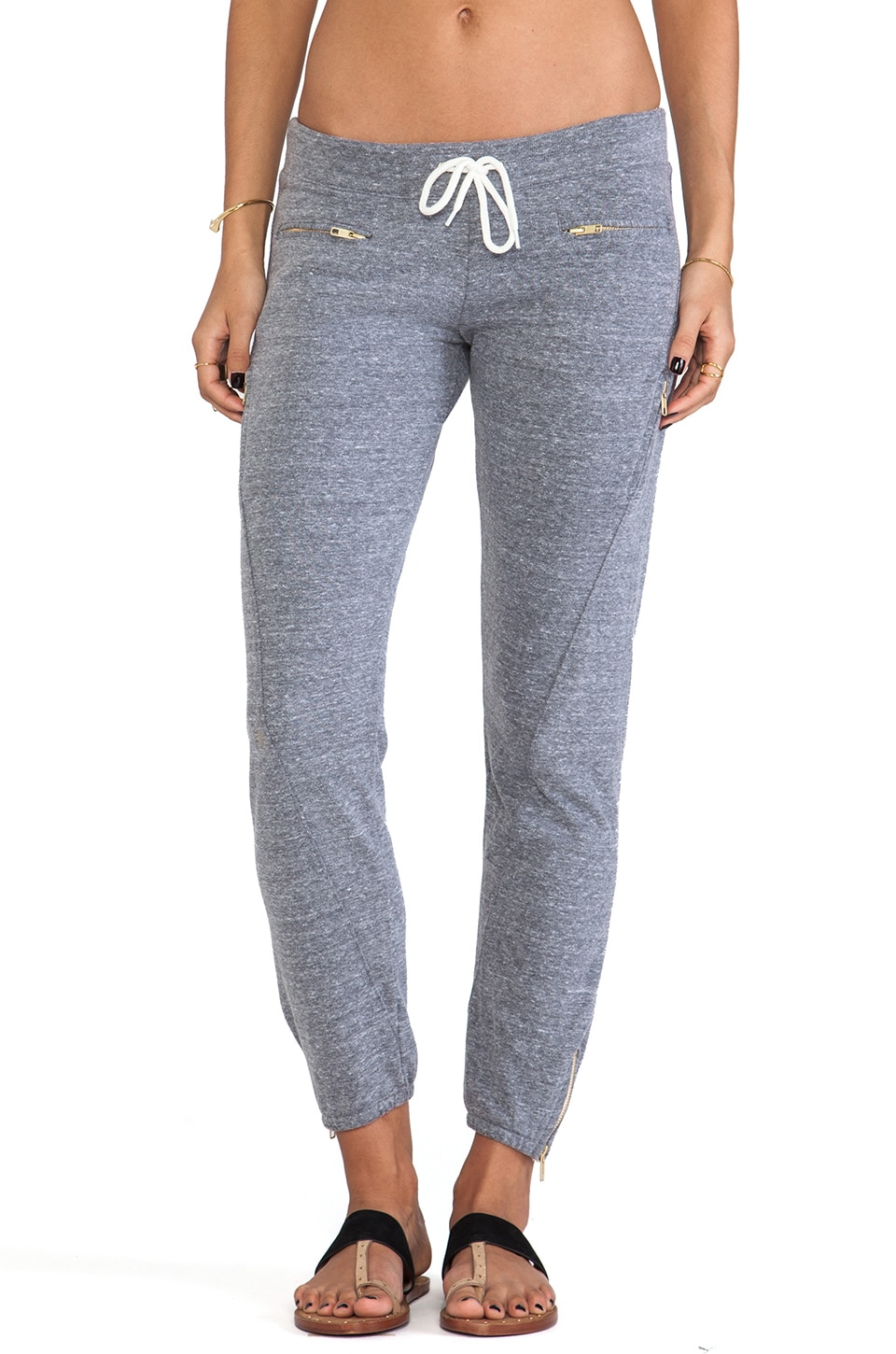 MONROW Basics Zipper Sweats in Dark Heather
