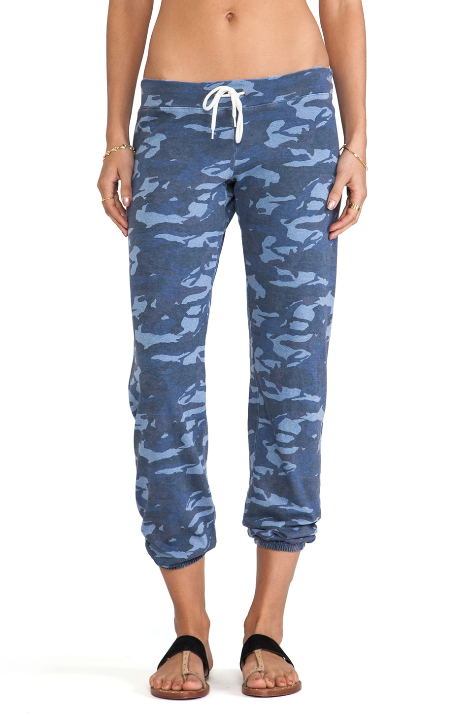 MONROW Camo Print Vintage Sweats in Denim