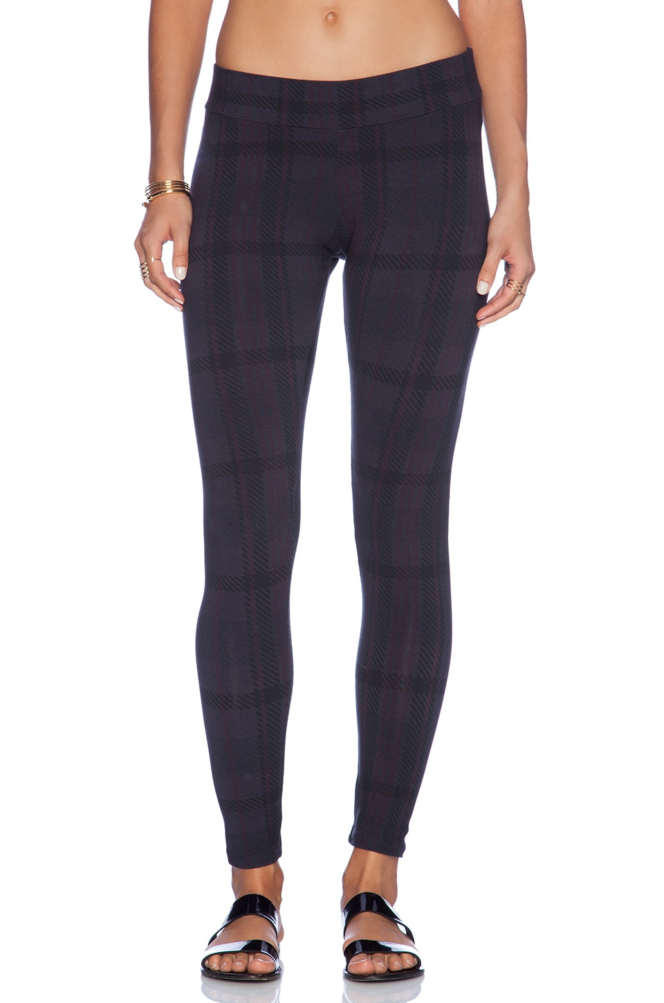 MONROW Oversized Plaid Print Basic Legging in Neptune