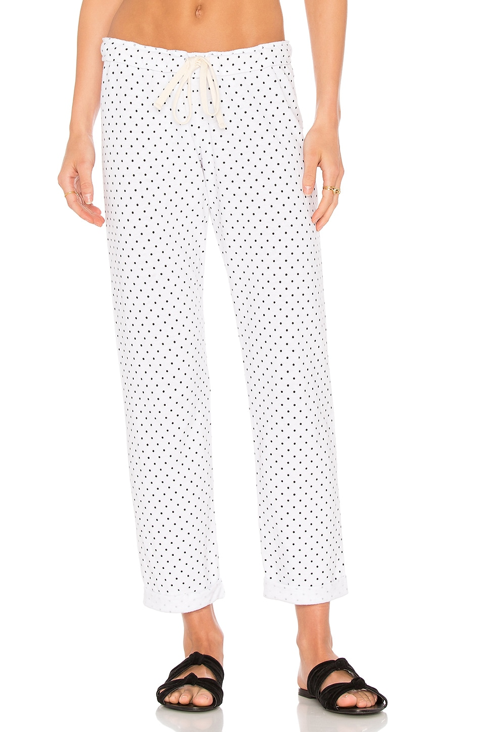 MONROW Swiss Dot Boyfriend Sweatpant in White