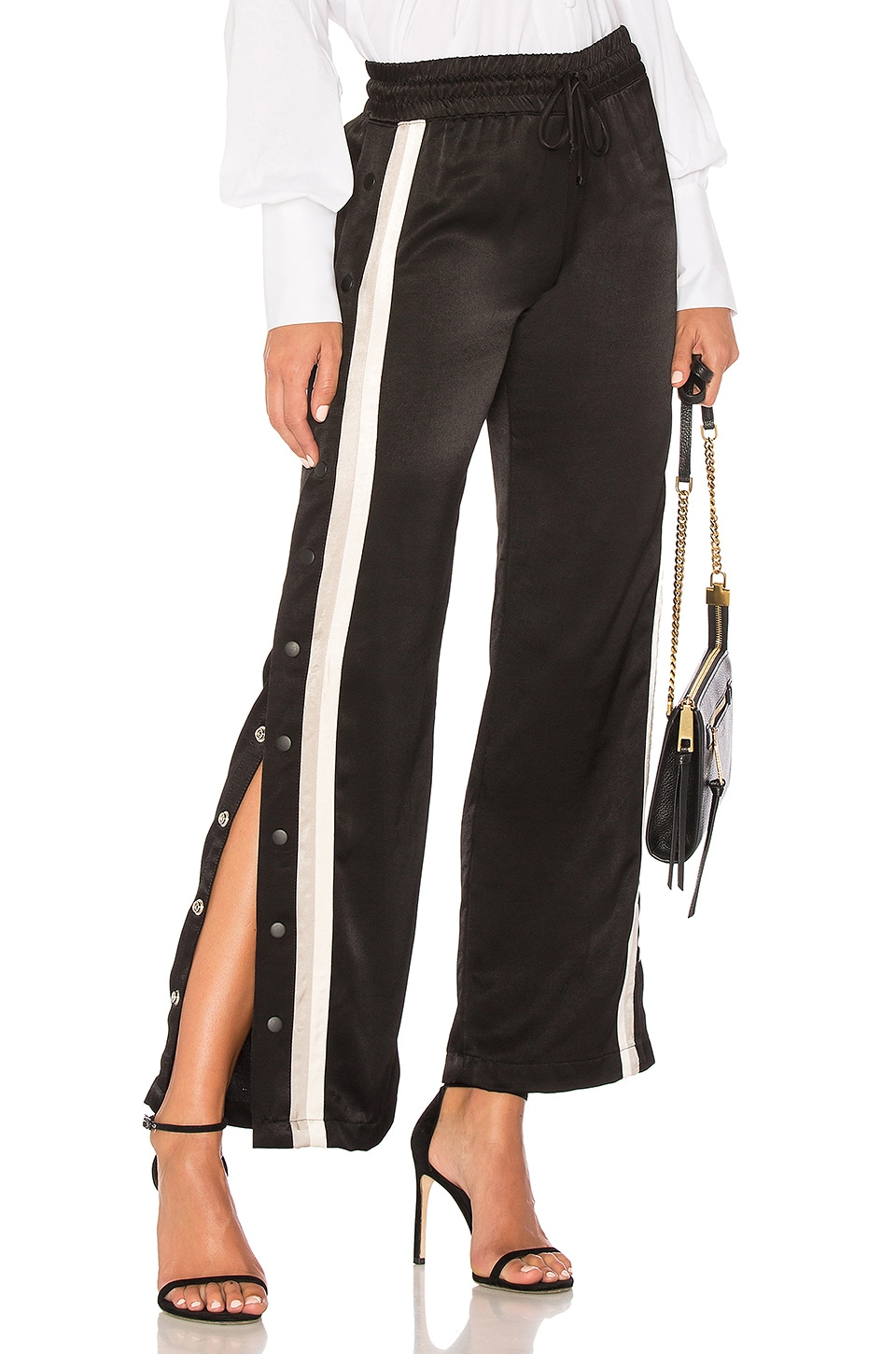 MONROW Tear Away Track Pant in Black