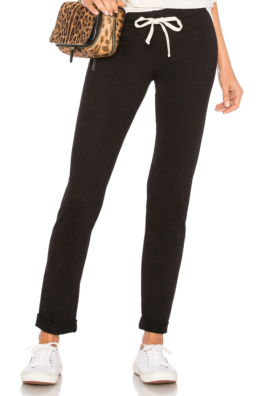 MONROW Black Foldover Slim Sweatpant