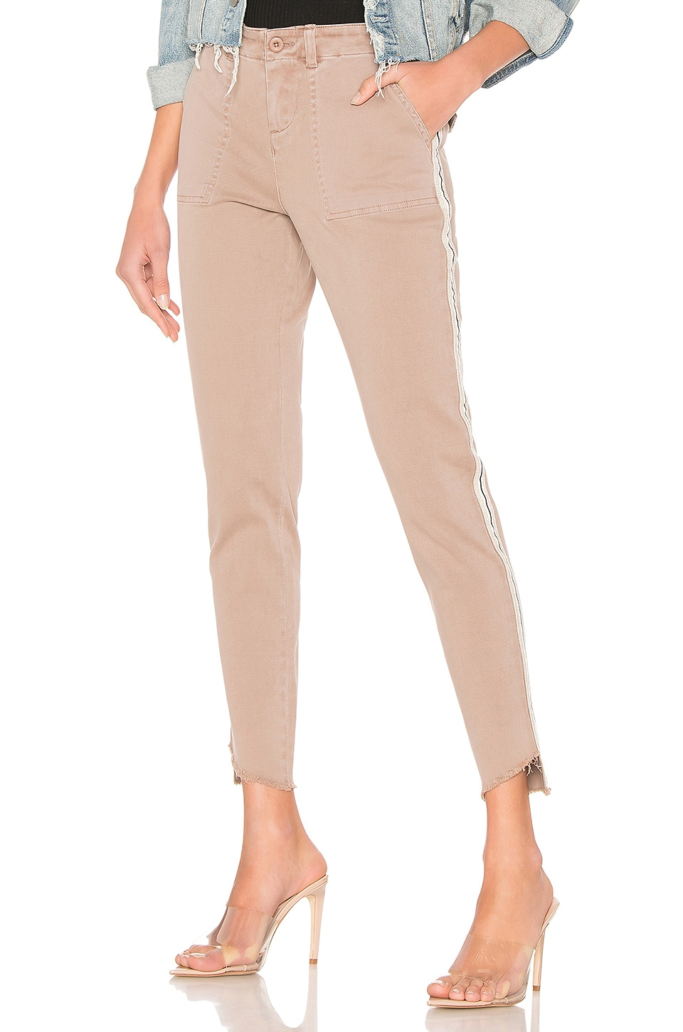 MONROW Cut Off Military Pant in Camel
