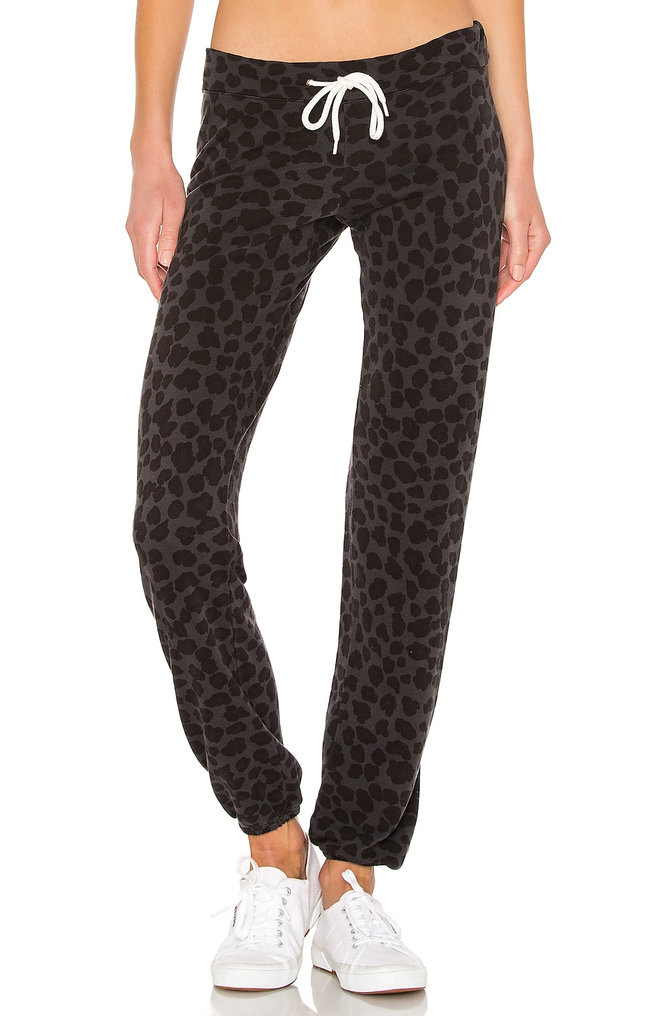 MONROW Leopard Vintage Sweats in Vintage Black