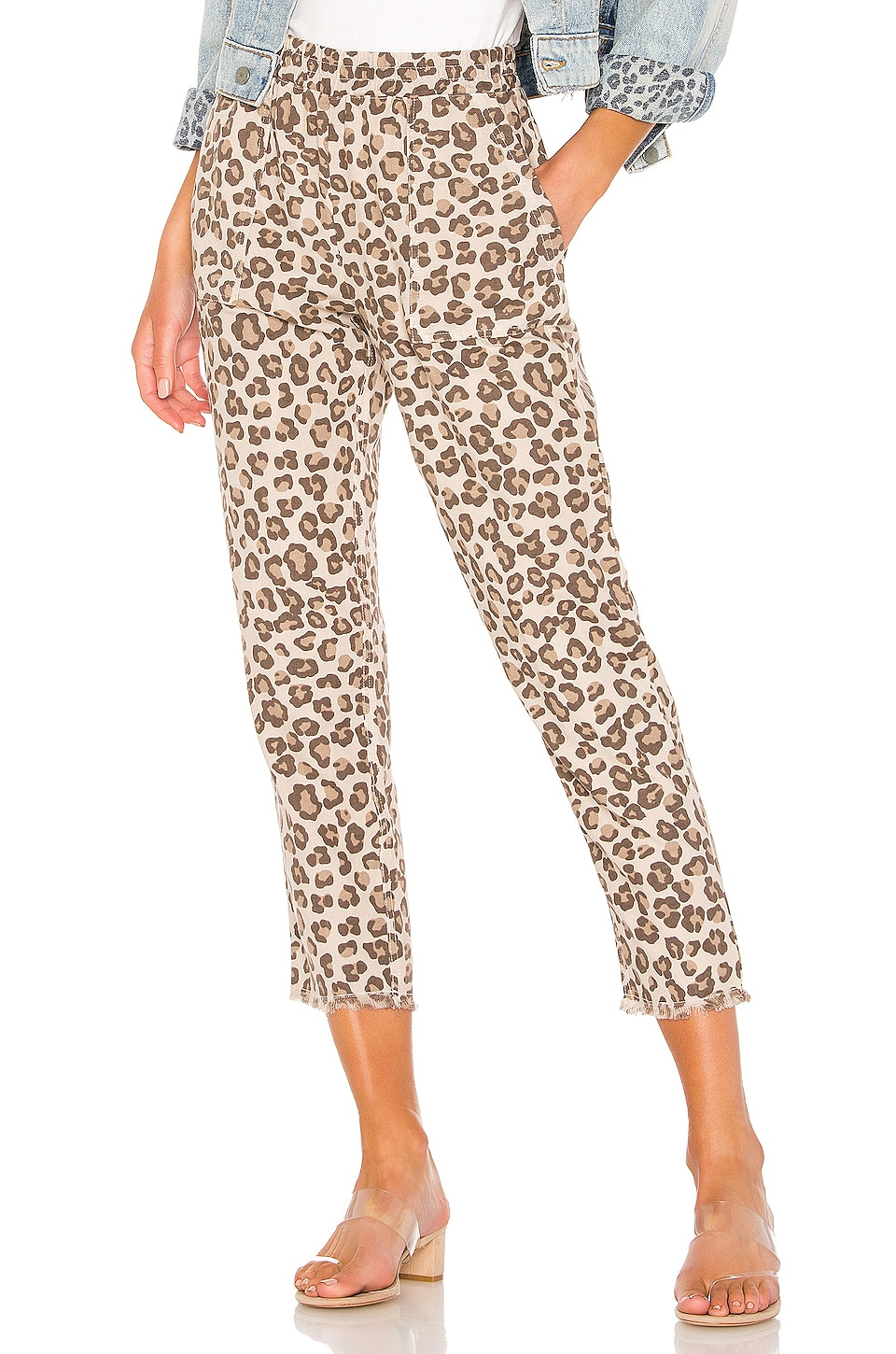 MONROW Leopard Fray Patch Pockets Pant in Dust