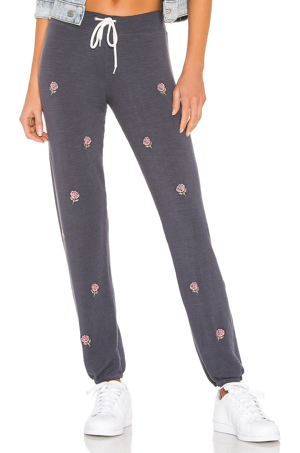 MONROW Vintage All Over Rose Embroidery Sweats in Vintage Black