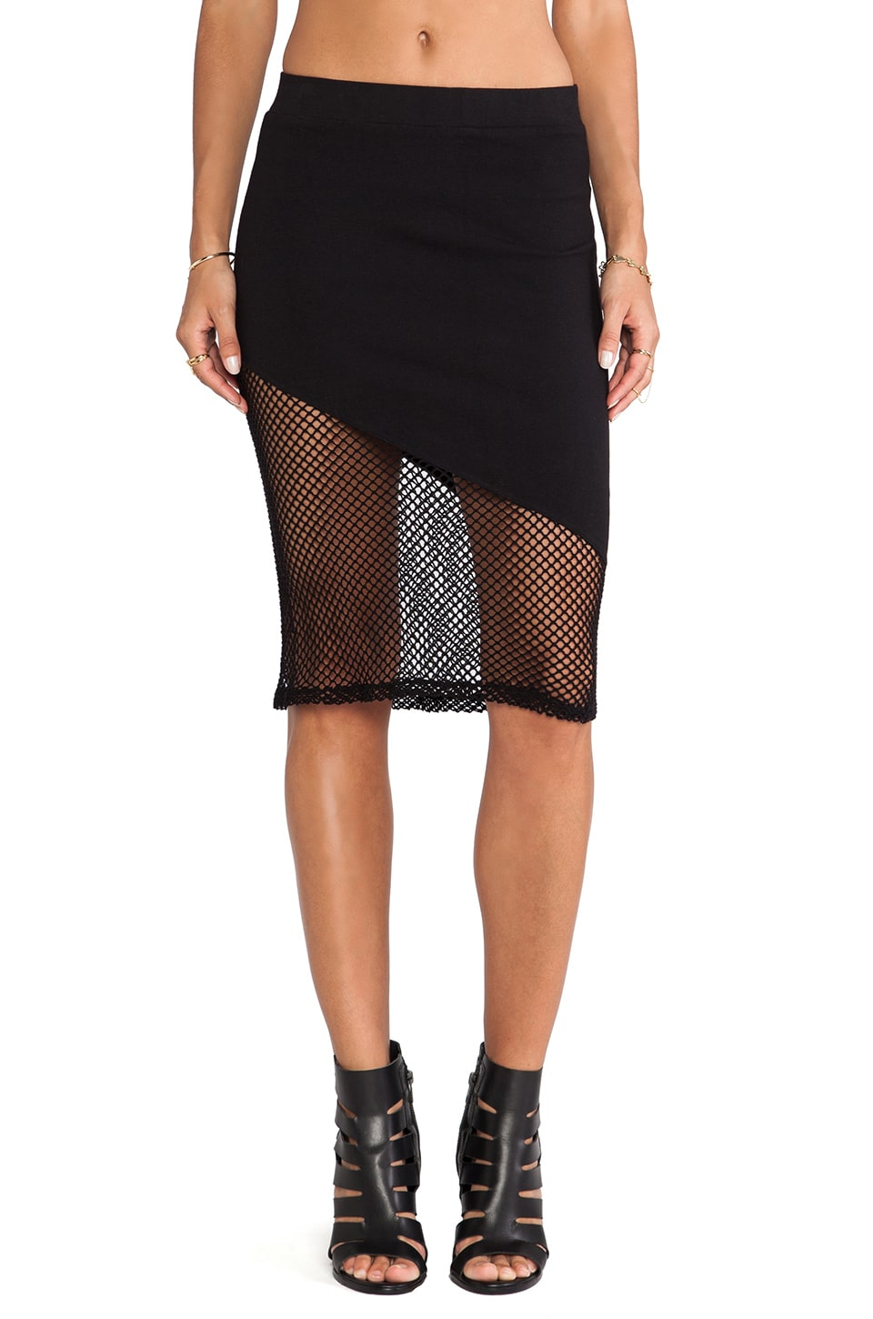 MONROW Fishnet Mesh Skirt in Black