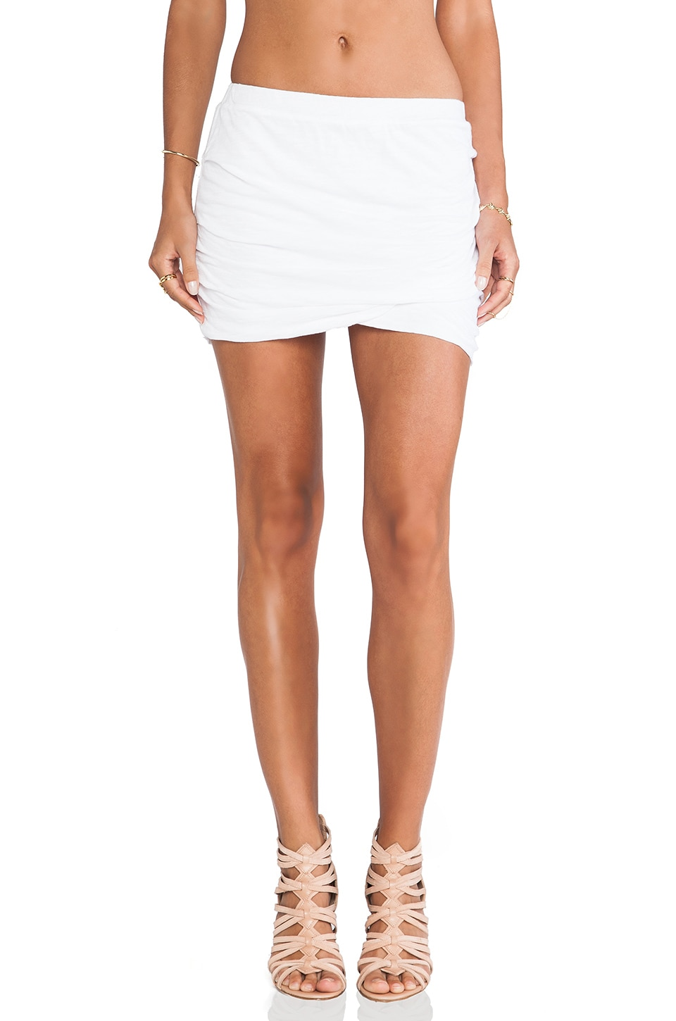 MONROW Basics Shirred Skirt in White