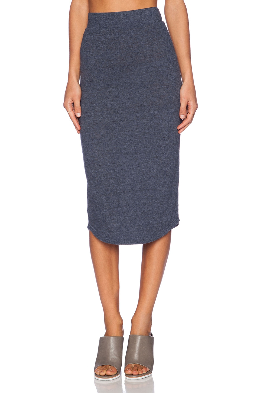 MONROW Granite Jersey Pencil Skirt in Vintage Blue