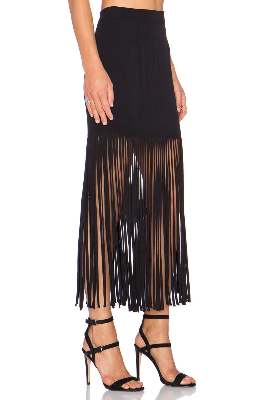 monrow fringe maxi skirt in black revolve