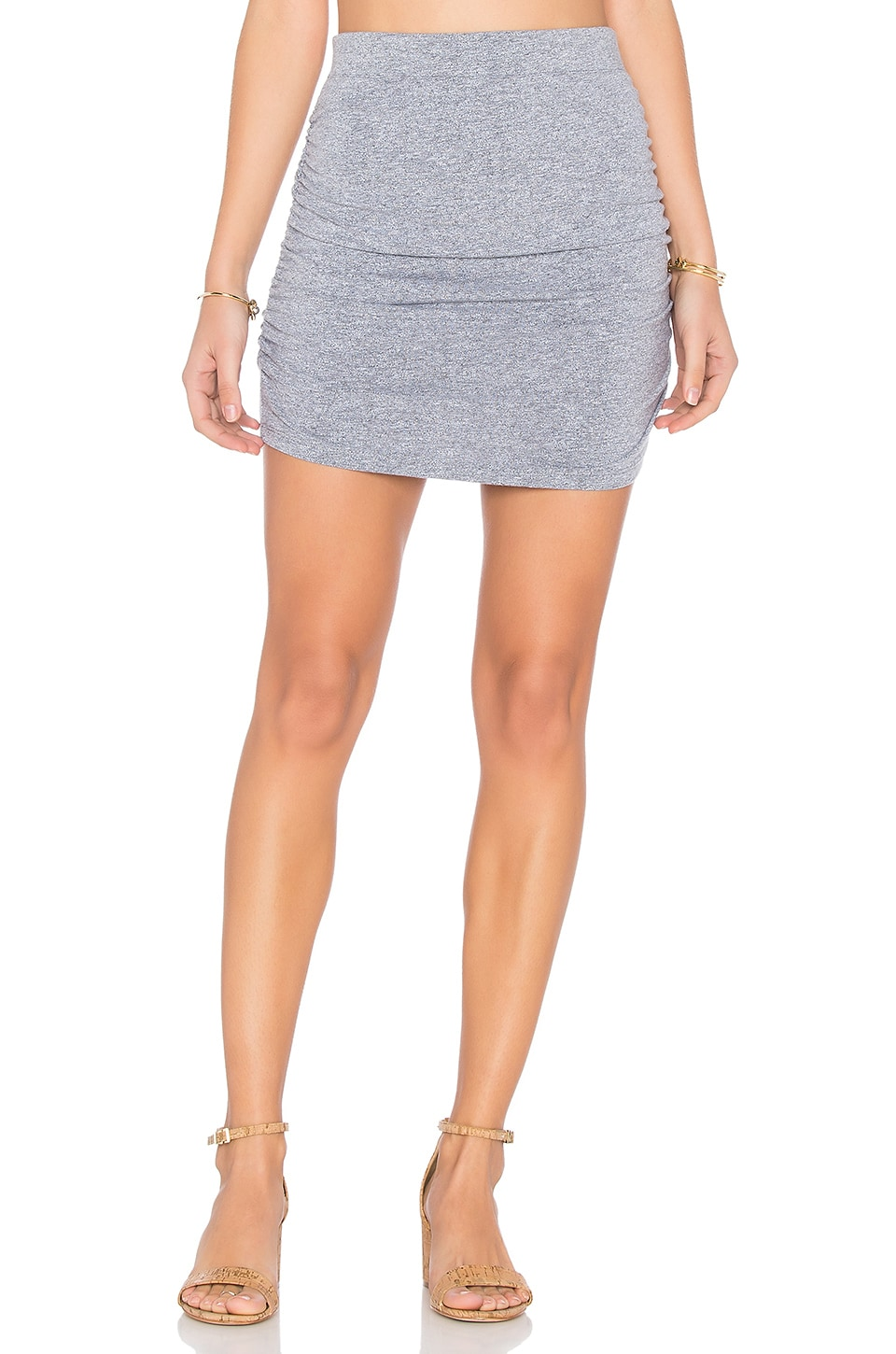 MONROW Shirred Mini Skirt in Granite