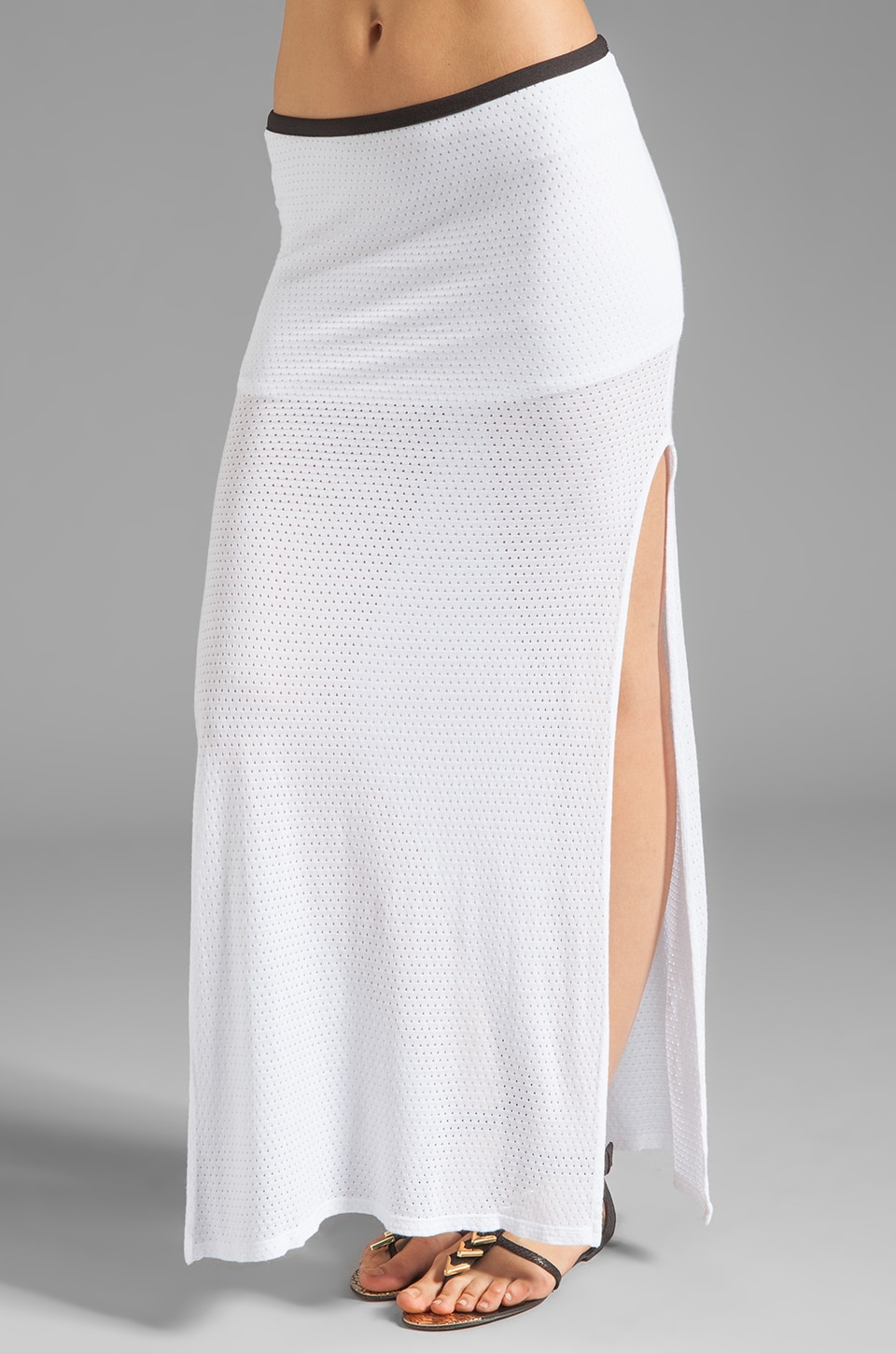 MONROW High Slit Skirt in White