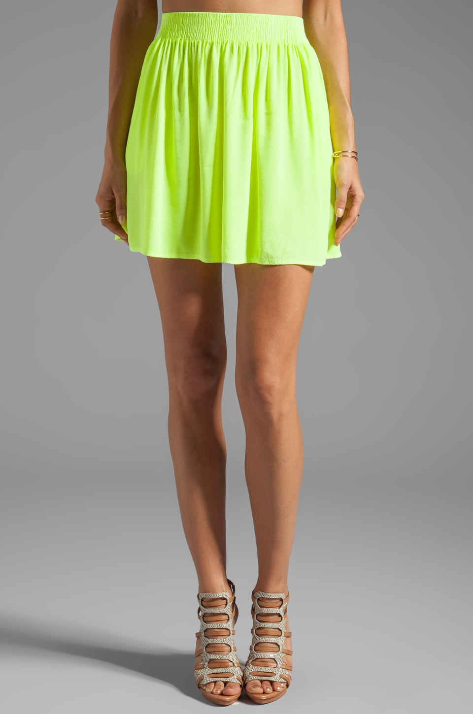 MONROW Crepe Short Skirt in Neon Citron