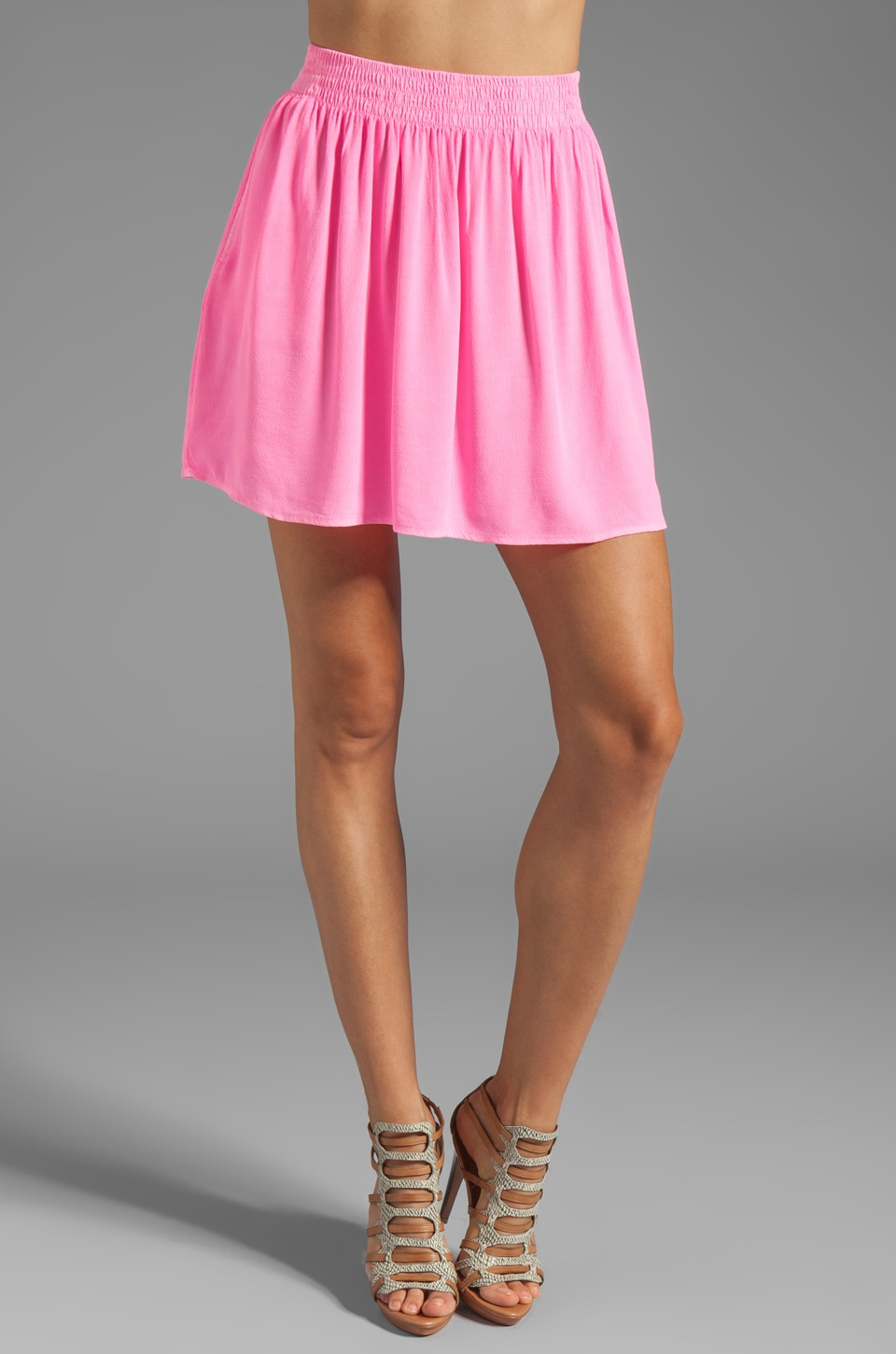 MONROW Crepe Short Skirt in Neon Pink