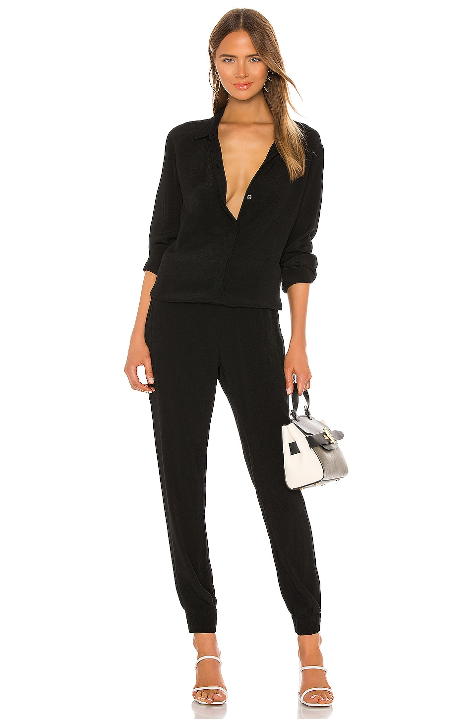 MONROW Crepe Long Sleeve Jumpsuit in Black