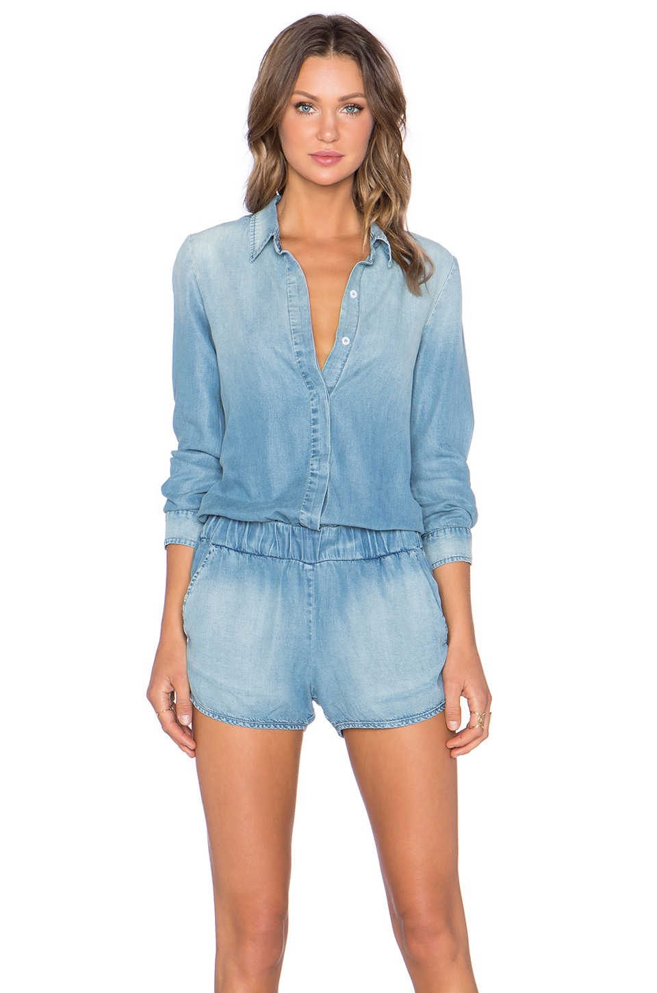 MONROW Long Sleeve Romper in Denim Wash