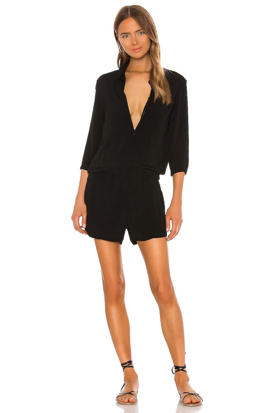 Black dress romper - Monrow Zip Up Romper In Black