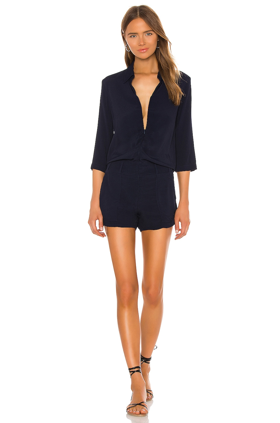 MONROW Zip Up Romper in Navy