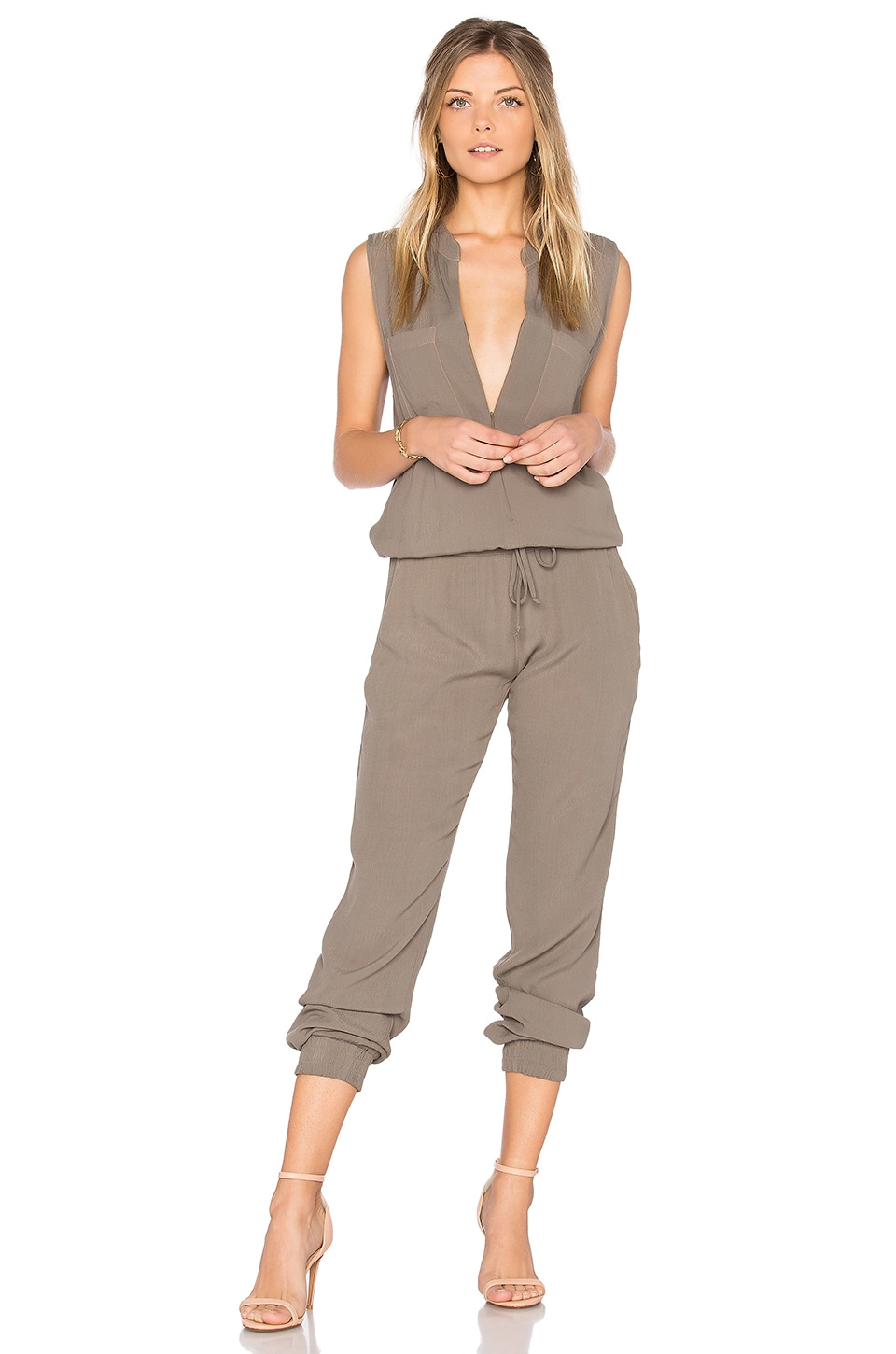 MONROW Sleeveless Jumpsuit in Ash Green