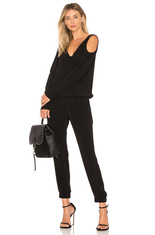 MONROW Cutout Shoulder Jumpsuit in Black