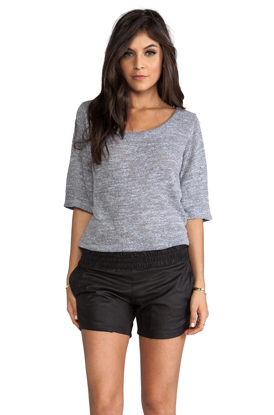 MONROW Granite Sweater Romper in Granite & Black