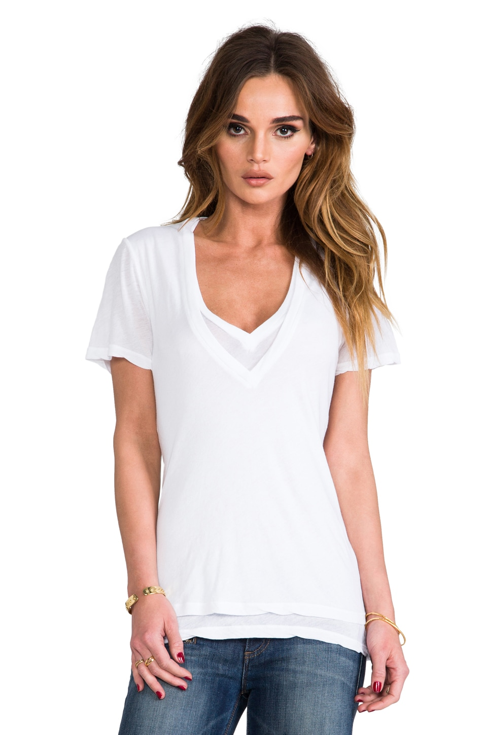 MONROW Double Tissue V-Neck Top in White