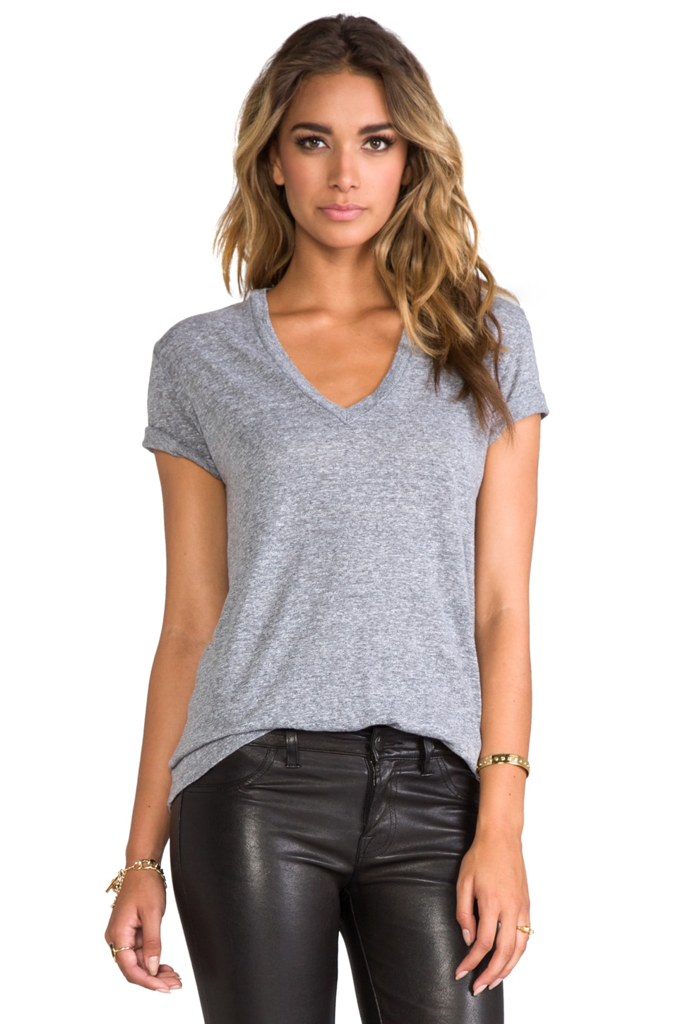 MONROW Oversized V Neck in Granite