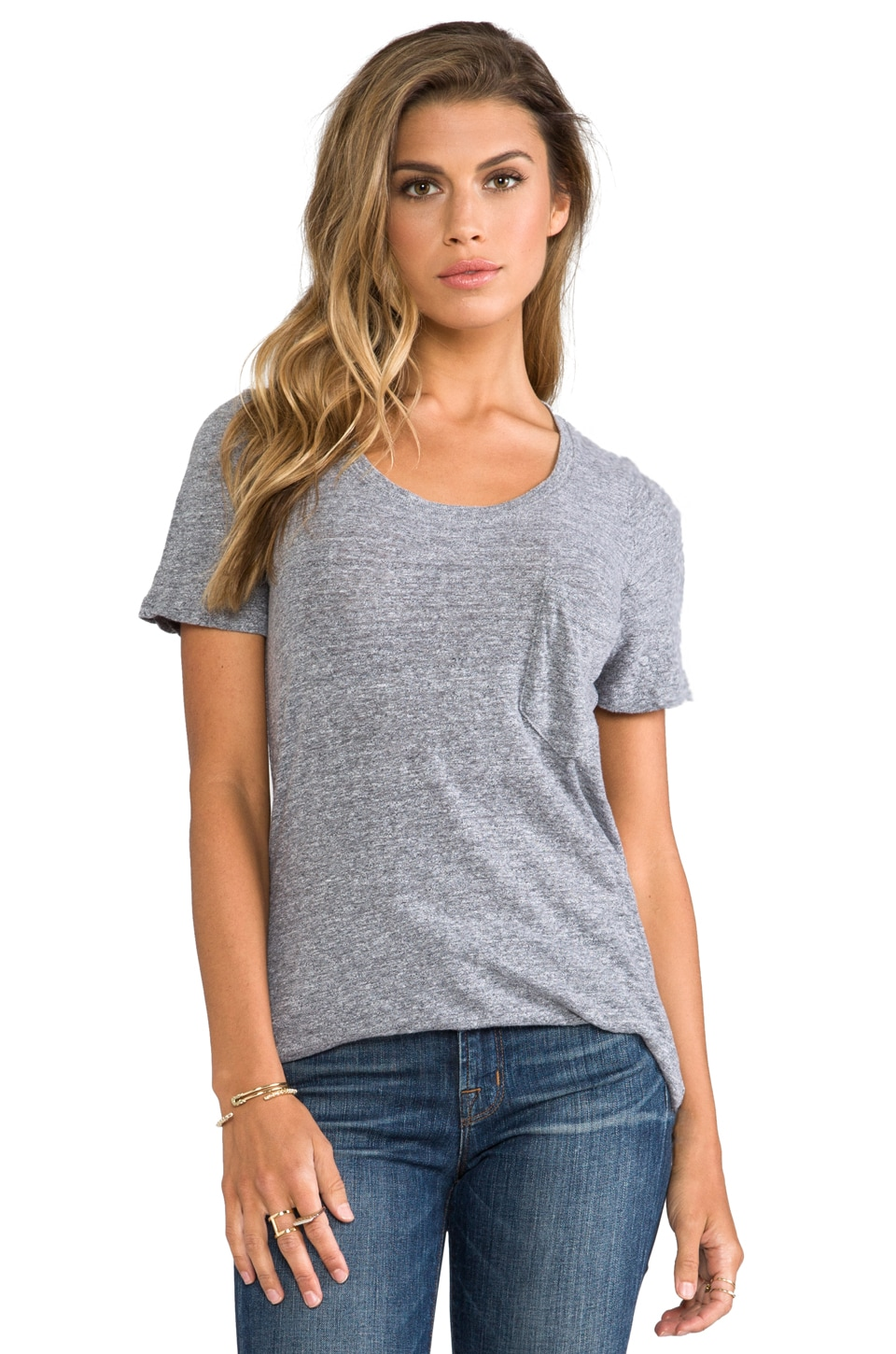 MONROW Mock Twist Granite Pocket Tee in Granite