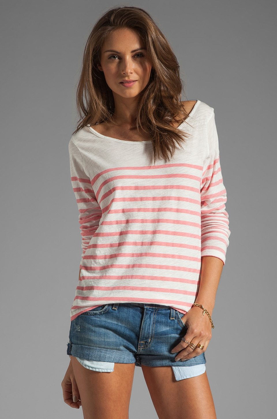 MONROW French Stripe Streaky Slub Tee in Light Coral
