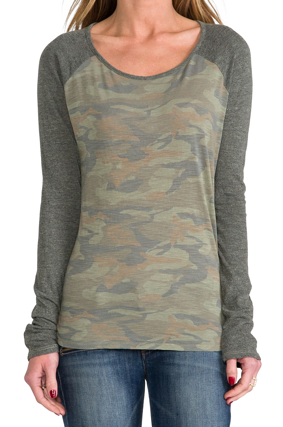 MONROW Camo Print Rock Tee in Army