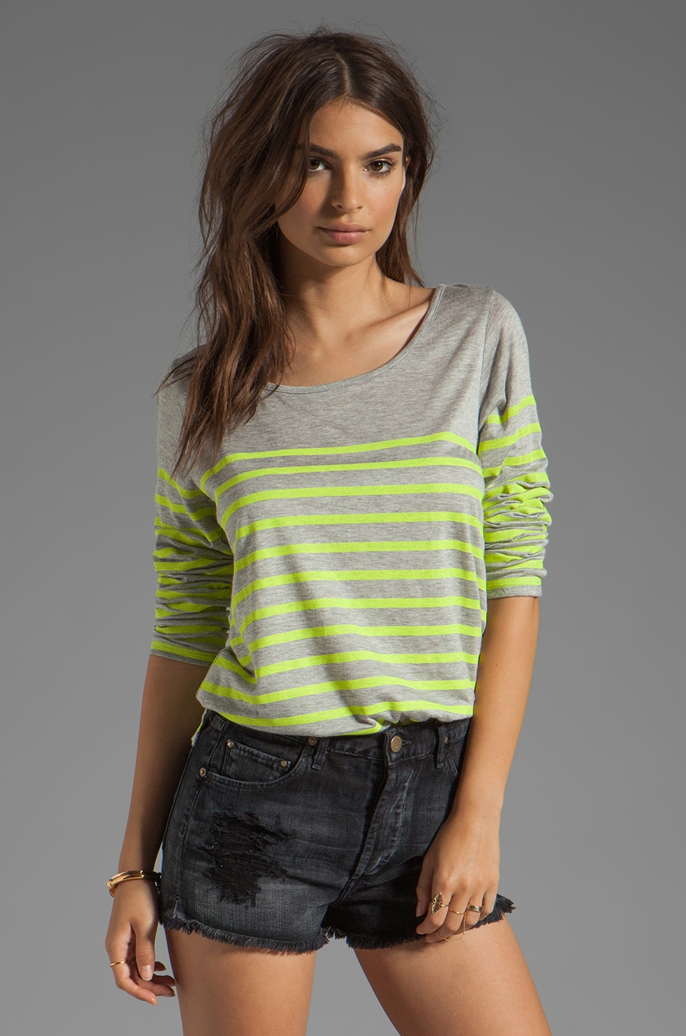 MONROW French Stripe Tee in Heather/Neon Citron
