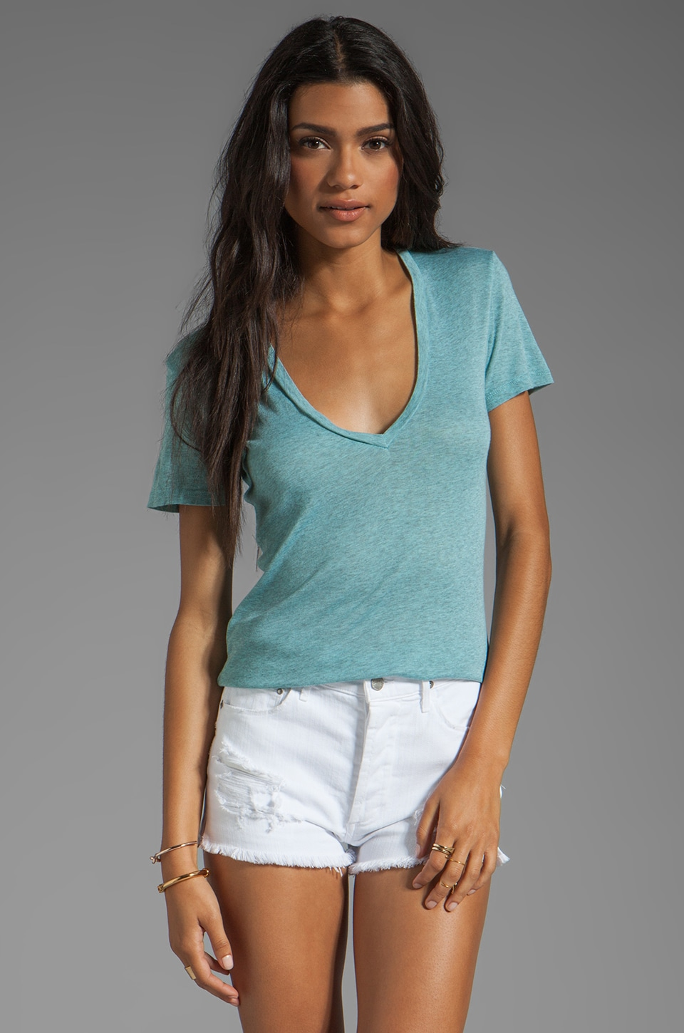 MONROW Baby Heather Tissue V-Neck in Spearmint